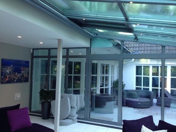Blick nach draussen Solarlux Wintergarten in Ahrensburg