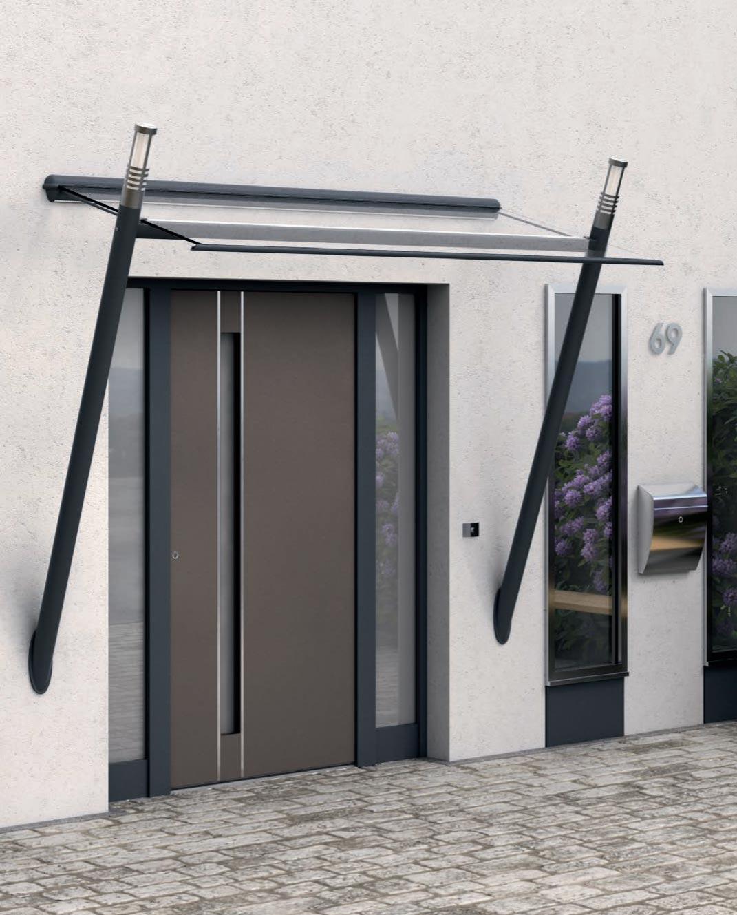 Kompotherm Referenz Vordach mit Beleuchtung von Sonne Rundum in Hamburg